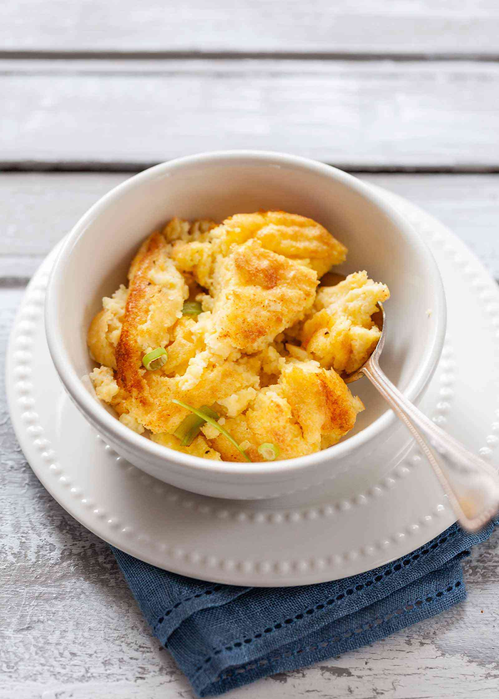 Cheese Grits Casserole - grits in white dish