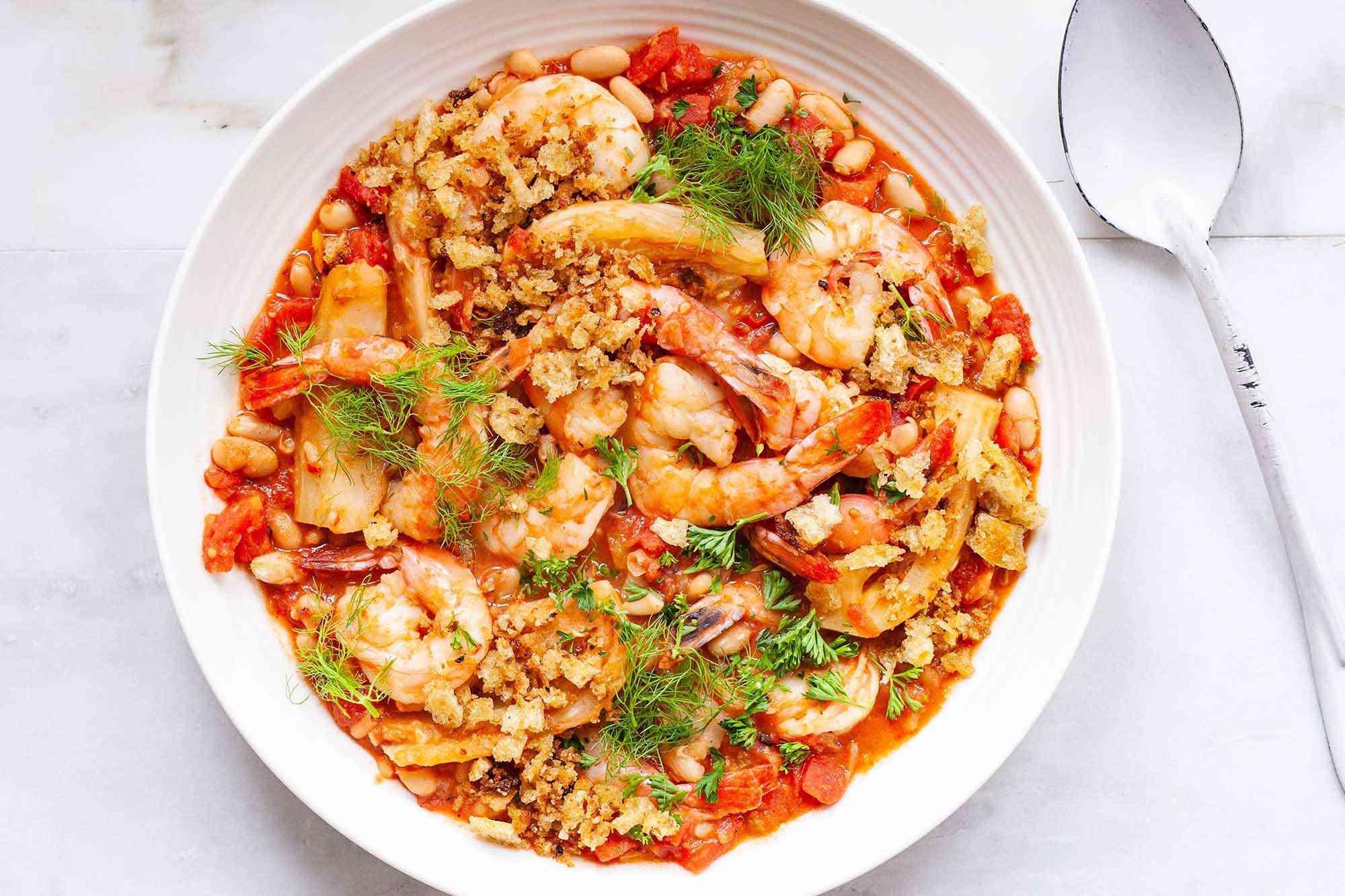 Shrimp and Vegetable Skillet Dinner - beans, fennel, tomato and shrimp skillet