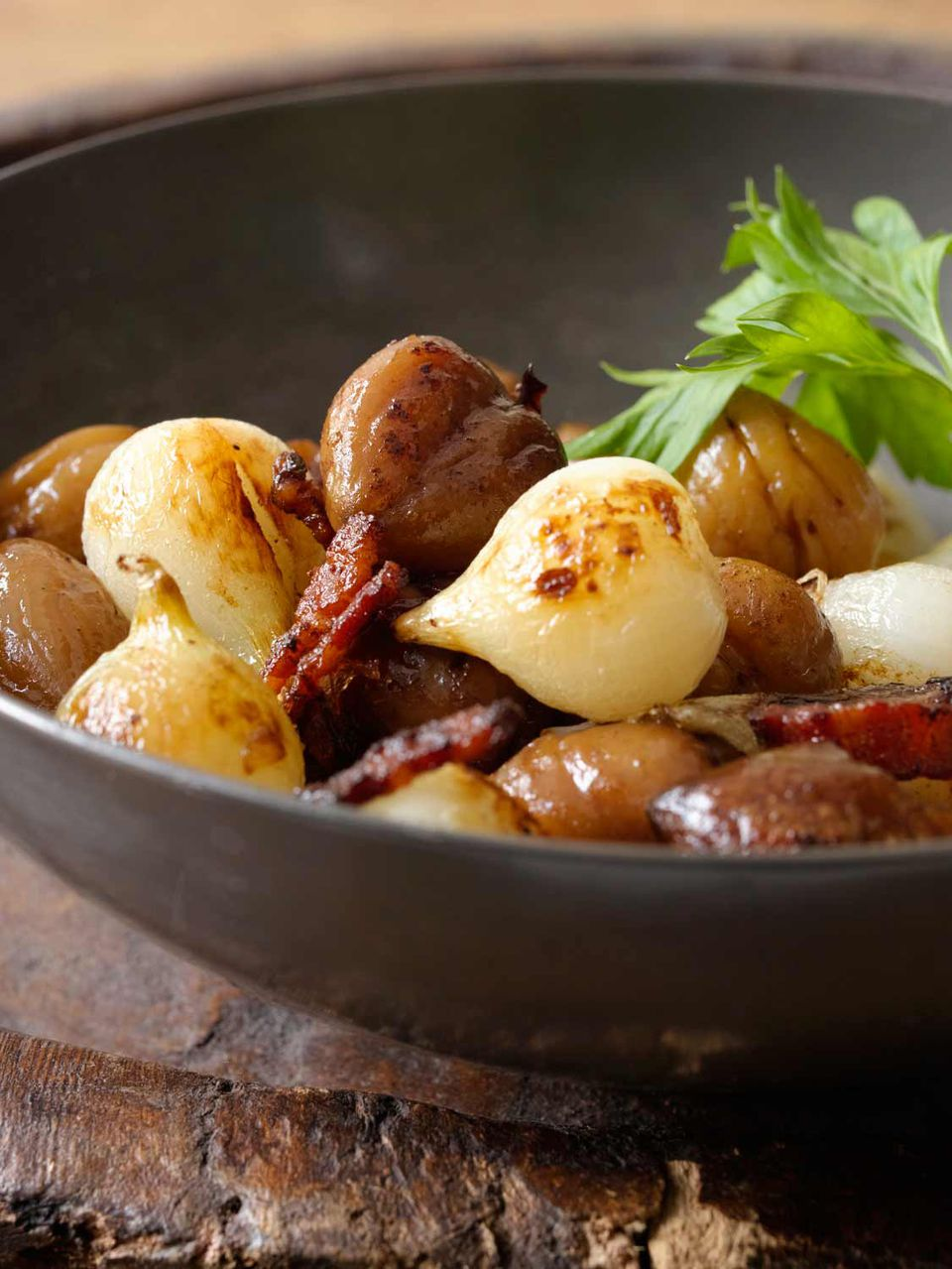 Sauteed Chestnuts with Onions and Bacon