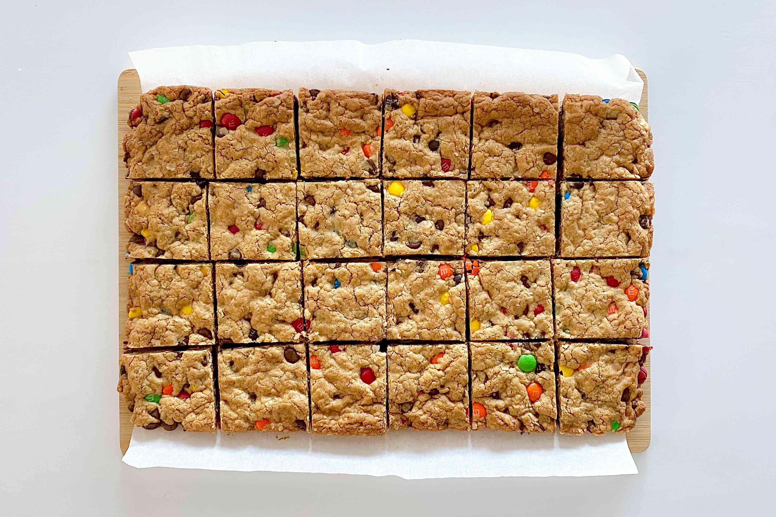 Sliced Gluten-Free Sheet Pan Monster Cookies.