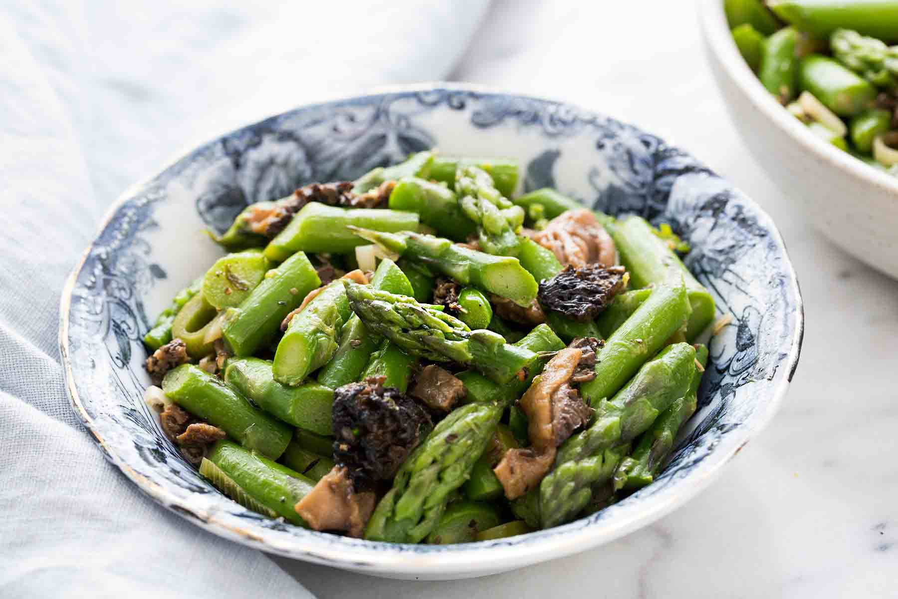 Sauteed Asparagus with Morels in a bowl