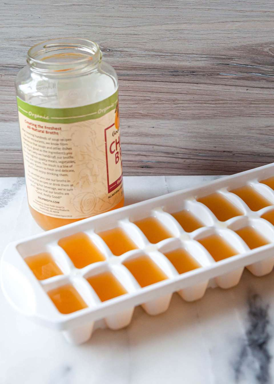 Chicken broth in ice cube tray