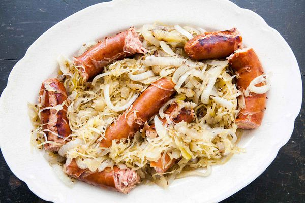 Grilled Polish Sausage with Sauerkraut and onions