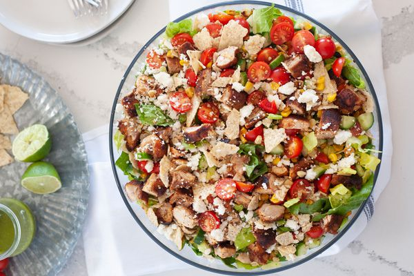 Tex-Mex Chopped Chicken Salad with Corn, Tortilla Chips, and Cojita