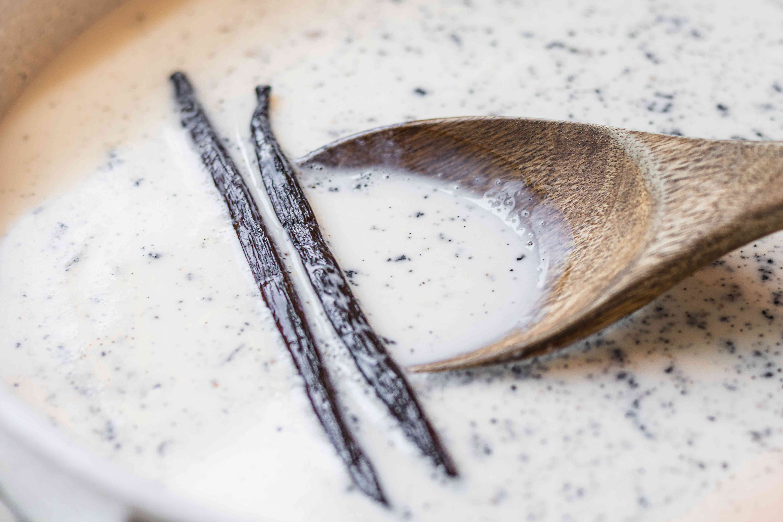 Vanilla bean pods set in the custard to make vanilla ice cream recipe.