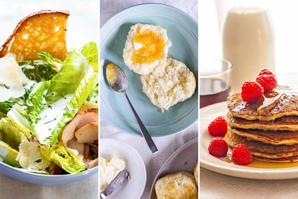 Three images side by side of recipes that use buttermilk. To the left is a bowl of salad with buttermilk dressing, the middle image is a plate with a bisuit spread with butter and jam, the farthest right is a plate of buttermilk pancakes topped with syrup and raspberries.