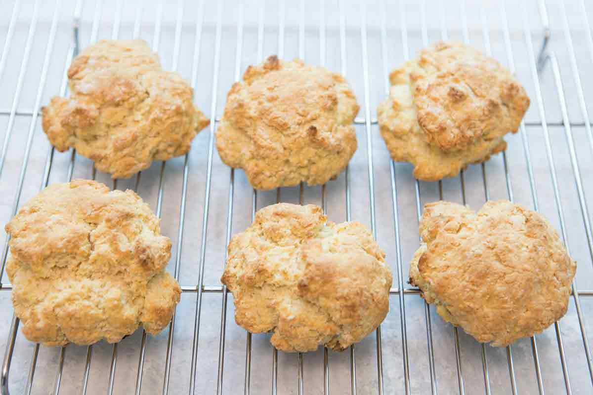 Dairy Free Vegan shortcake biscuits cooling on rack