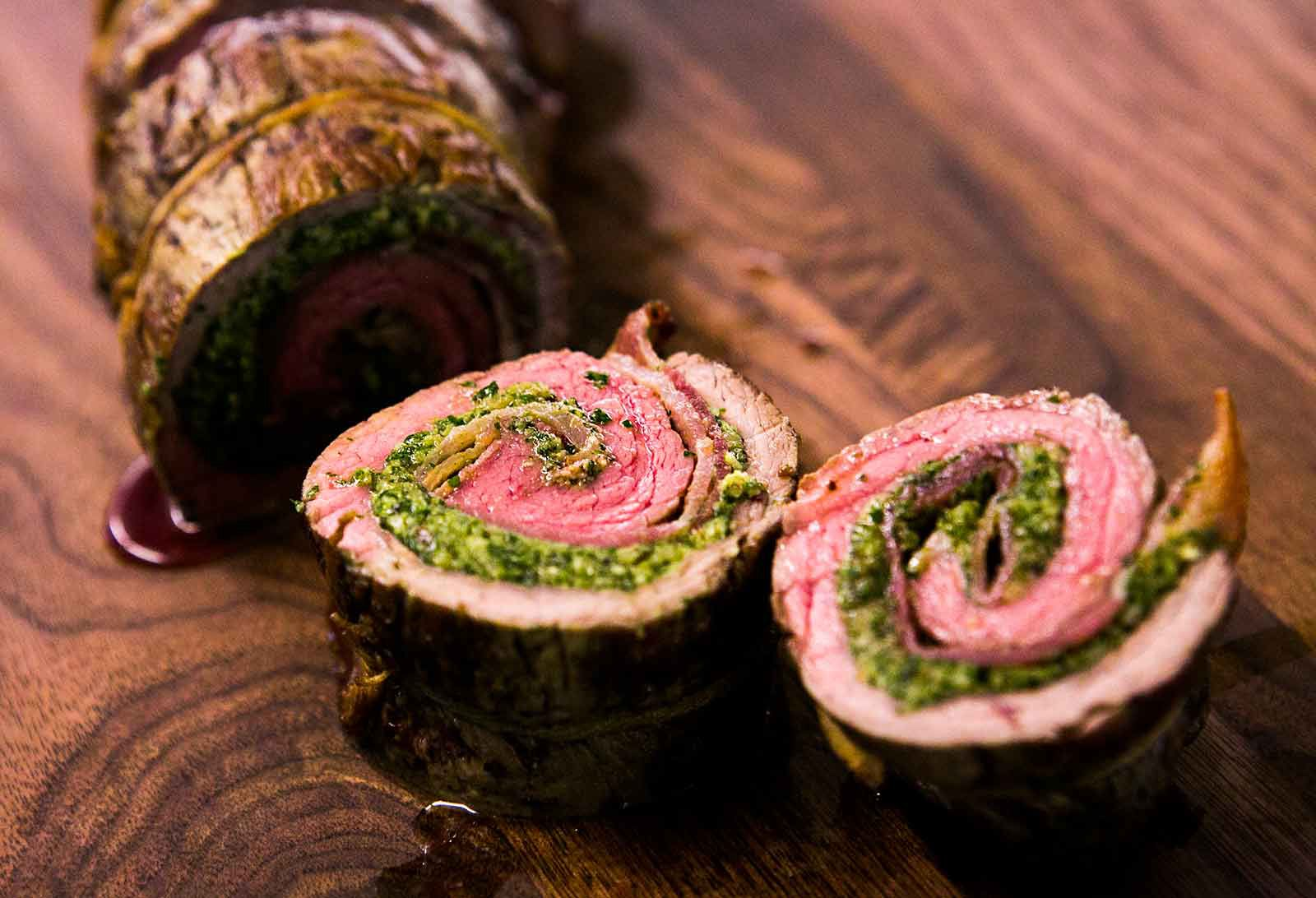 Beef Roulades with Walnut Parsley Pesto Recipe