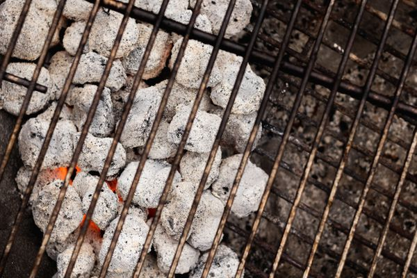 Grill with hot coals to show how to grill shrimp.