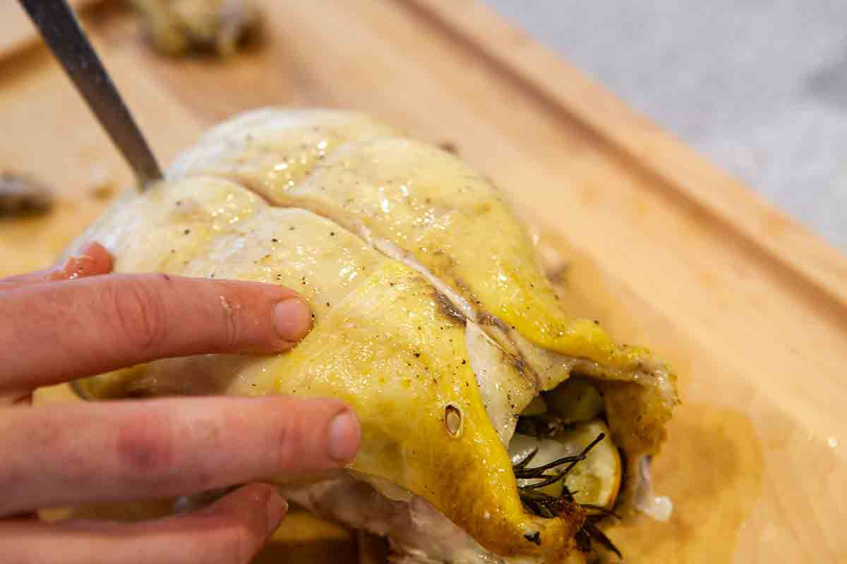 cut roast chicken down breast bone for chicken with grapes