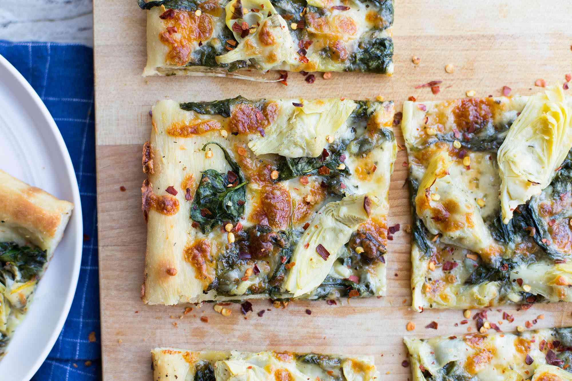 Spinach-Artichoke Sheet Pan Pizza