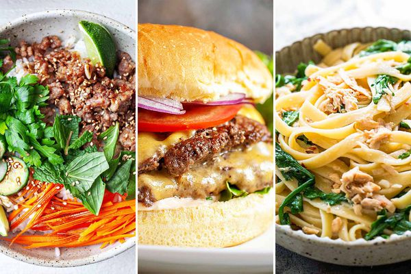 Three photos side by side of Ginger Pork Rice Bowls, Double Stacked Cheeseburgers and Tuna and Arugula Pasta