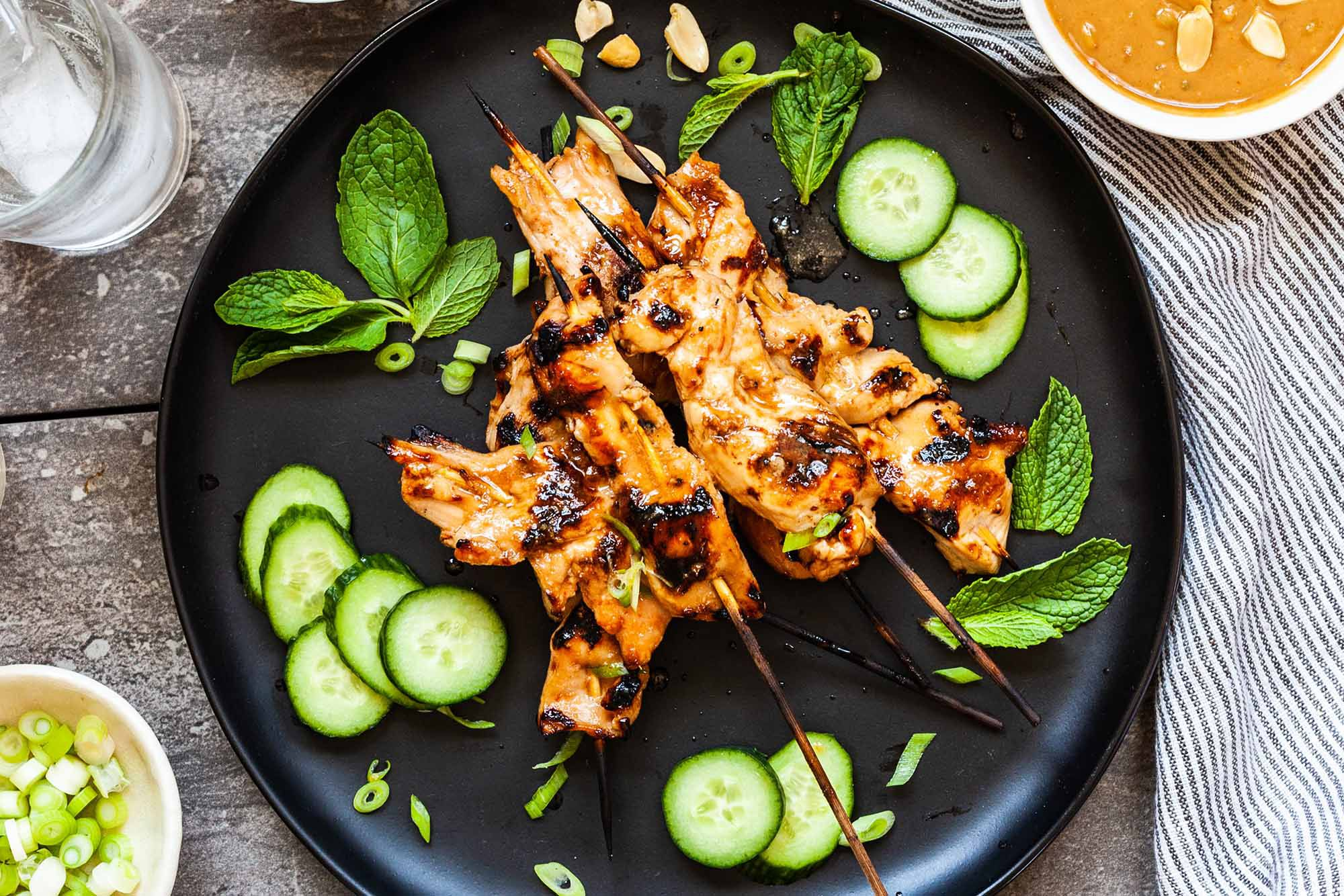 Grilled Chicken Satay With Peanut Sauce Recipe
