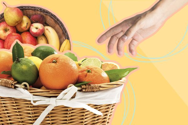 Photo composite of baskets of fruit with oranges, limes, pears, apples, and bananas.