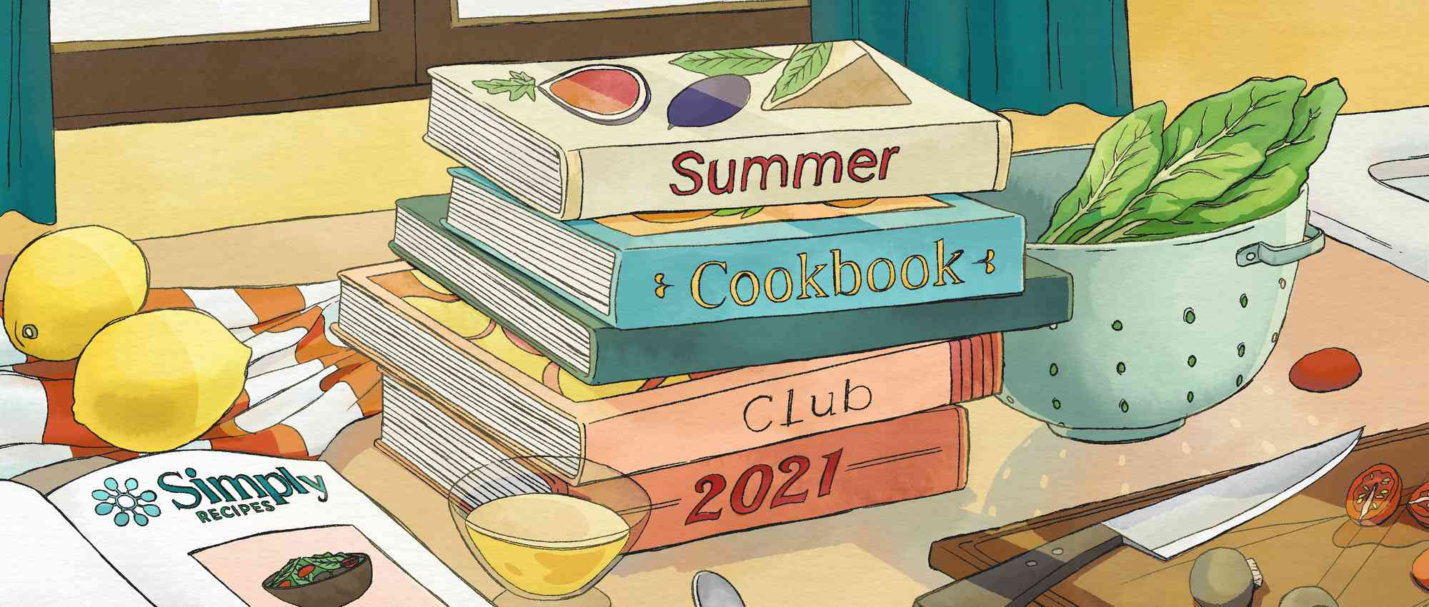 Summer Cookbook Club 2021 illustration cookbooks on counter with kitchen items