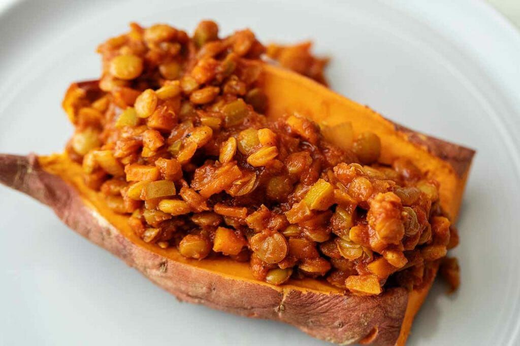 Vegetarian sloppy joes made with lentils