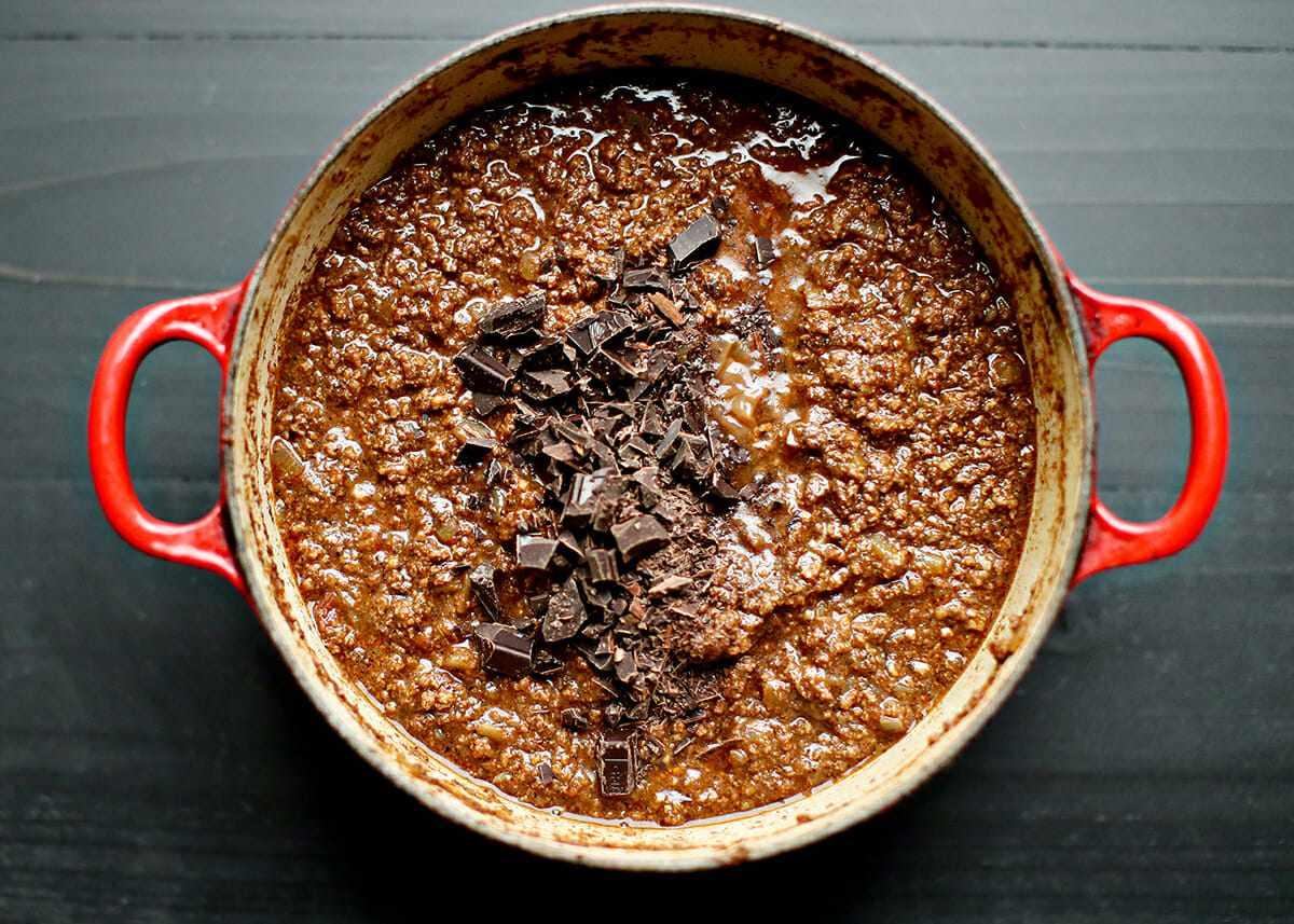 How to Make Cincinnati Chili add the chocolate and vinegar