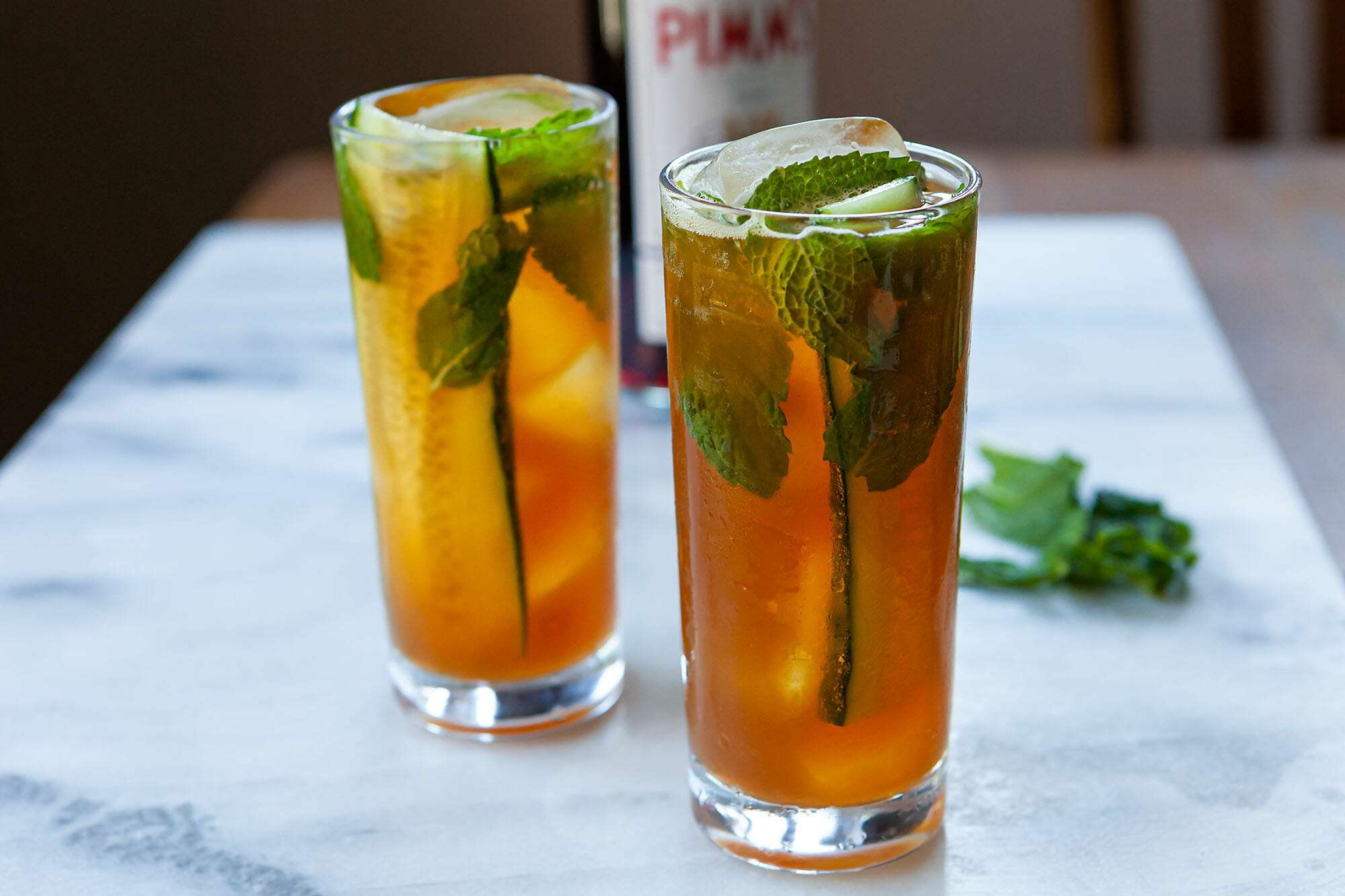 Two glasses of Pimm's cocktails