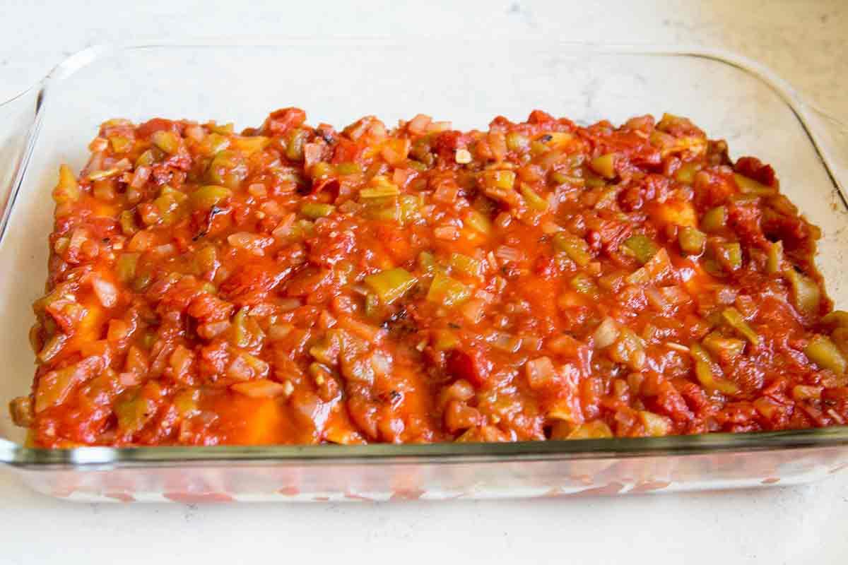 cover enchiladas with sauce