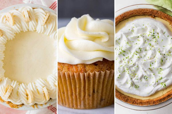 Three images of Easter desserts. From left to right: Banana cream pie with sliced bananas set vertically around the piped topping. The center photo is of a carrot cake cupcake with tall, swirled frosting piped on top. The last image is of a key lime pie with a graham cracker crust, whipped topping and lime zest on top.