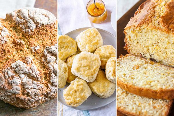 Three images side by side of baked bread that does not require yeast. The image on the left is an oatmeal soda bread. The image in the middle is a plate of buttermilk biscuits. The last image is a loaf of orange quickbread with a few slices laying in front of the loaf.