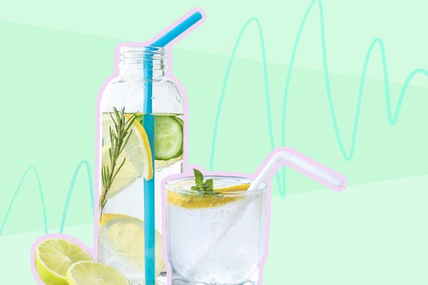 Photo composite of water in a glass bottle and glass cup with straws