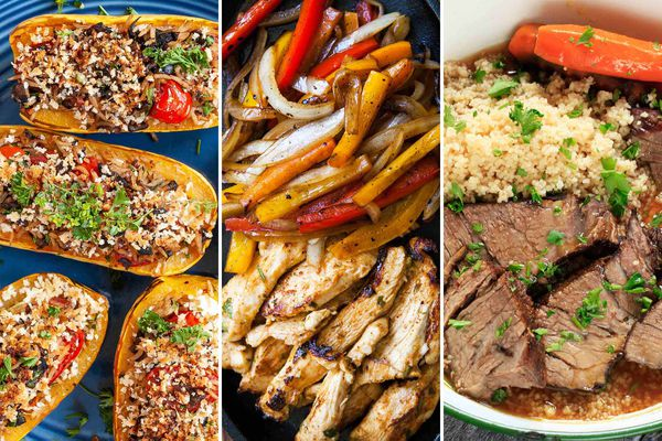 Stuffed squash, chicken fajitas and pot roast for this week's meal plan.