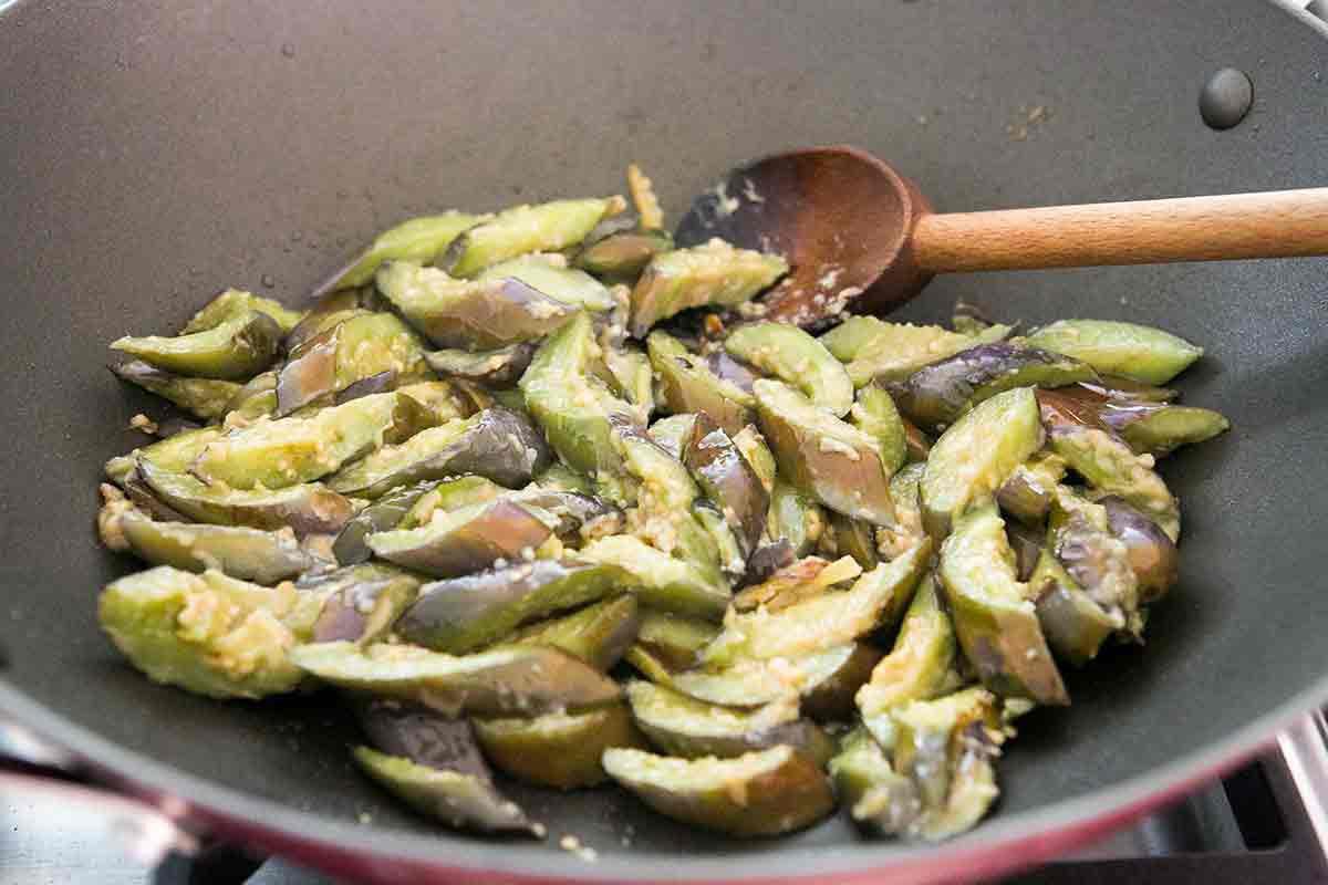 add miso sake mixture to stir fried japanese eggplant