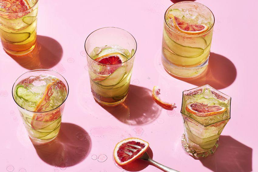 cocktails on pink background