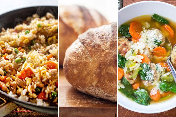 Three images side by side. On the left is a skillet with Easy Pork Fried Rice with Frozen Vegetables. The center image is two loaves of no knead bread. The image to the right is on overhead view of Turkey Meatball Soup with Spinach and Orzo.
