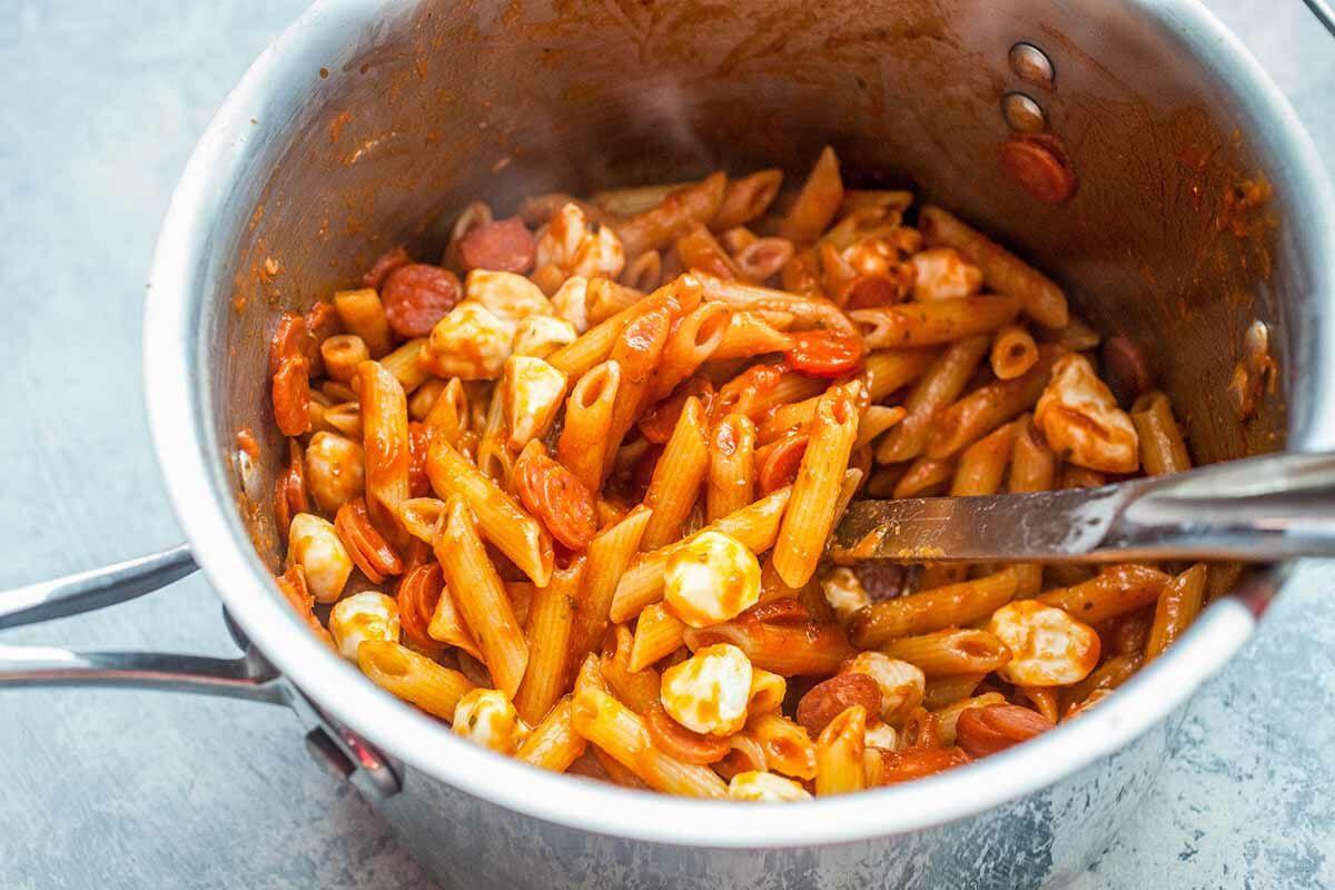 Pasta with Mozzarella toss the pasta, pepperoni and mozzarella