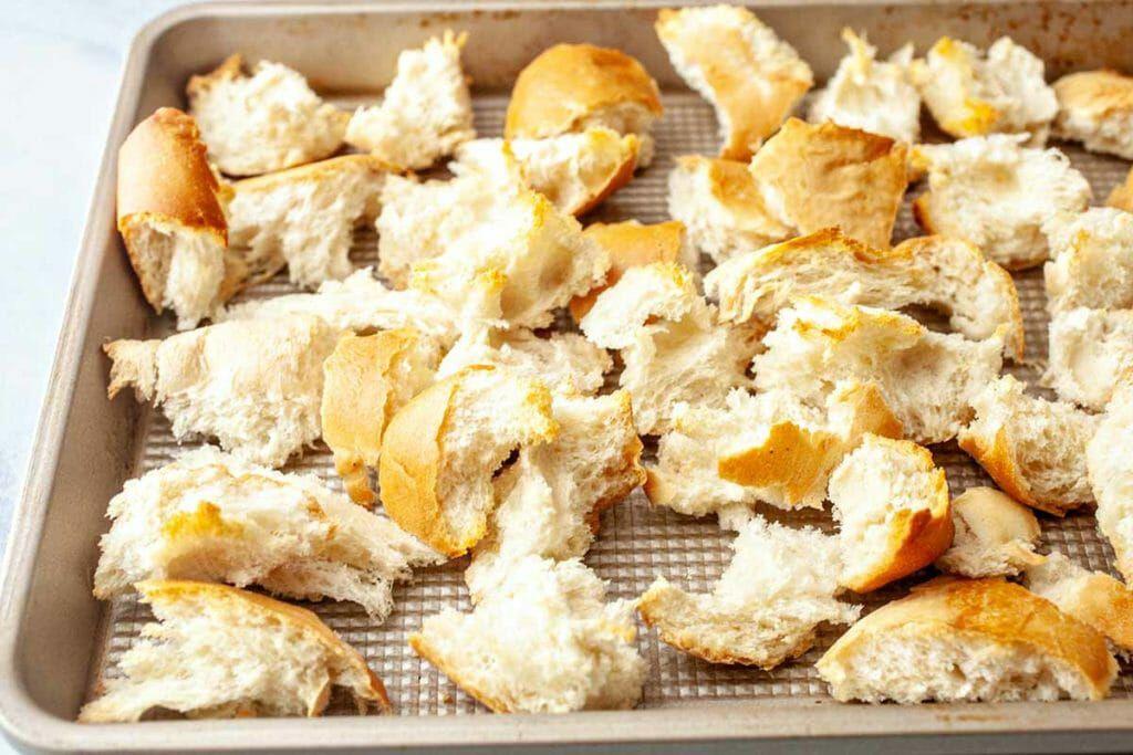Chicken Panzanella Salad Recipe - bread pieces in sheet pan
