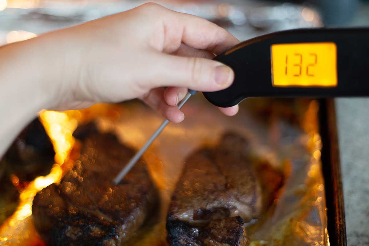 A hand is holding a thermapen that reads