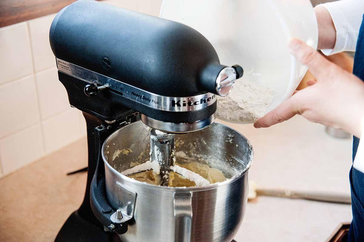 Best Lemon Pound Cake Recipe - adding flour to stand mixer