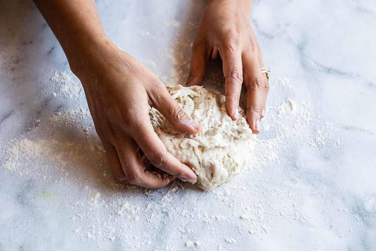 Naan Recipe - kneading the dough