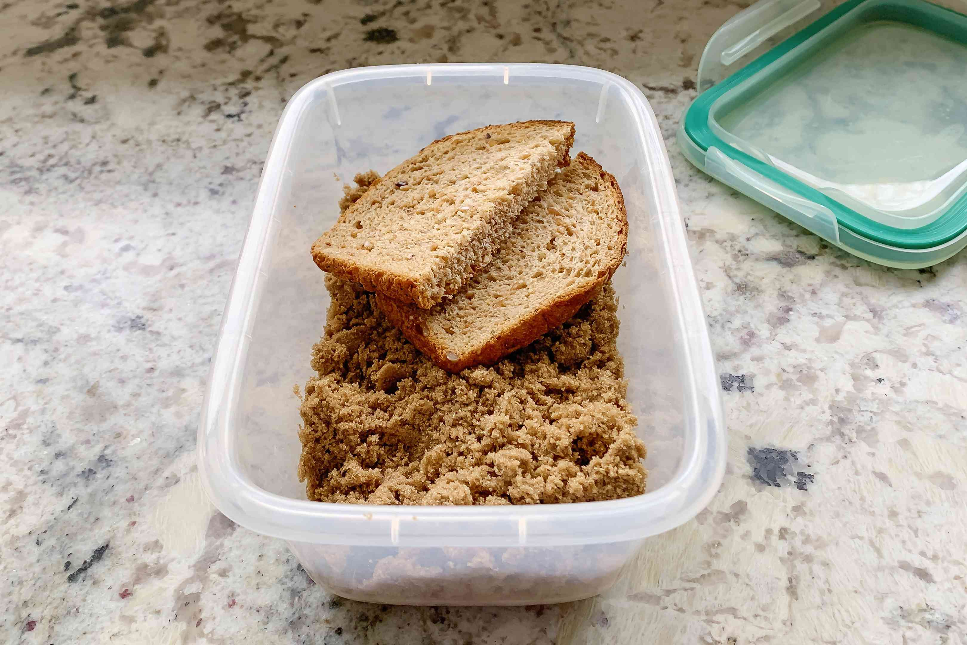 brown sugar container with bread in it