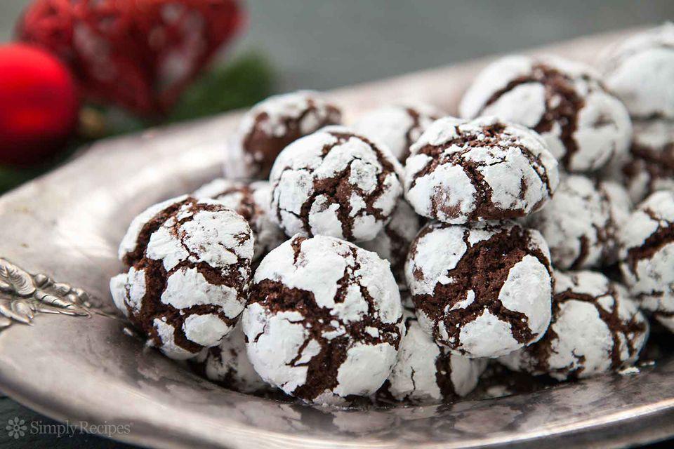 Chocolate Crinkle Cookies on Plate