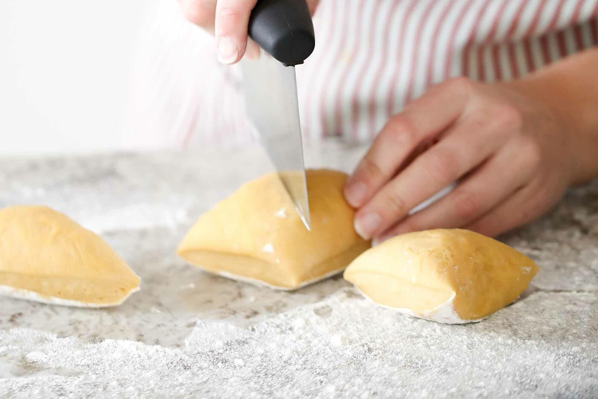 How to Make Homemade Pasta cut the dough into pieces