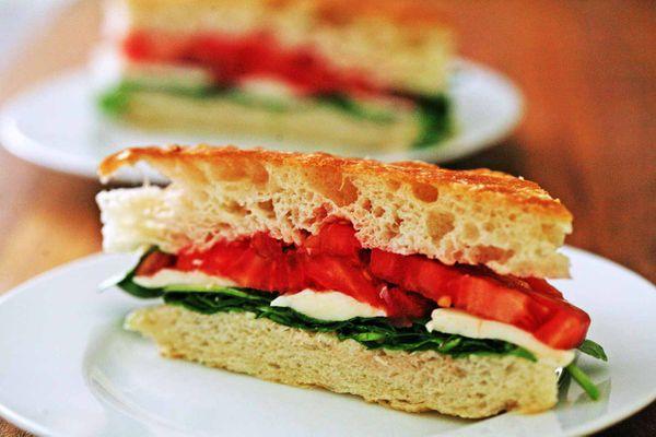 Arugula Mozzarella Tomato Focaccia Sandwich