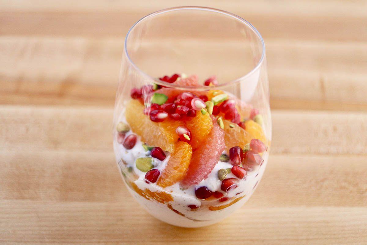 Parfait with Maple Yogurt, Citrus and Pomegranate