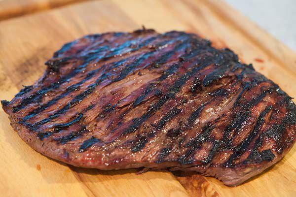 teriyaki steak ready to be sliced in strips