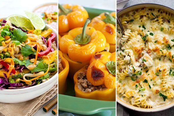 Three images side by side of our favorite recipes. On the left is Thai Noodle Salad with Peanut Sauce. In the center is Kofta-Style Chicken Stuffed Peppers with Yogurt Mint Sauce. On the right is Ham and Cheese Pasta Bake in a dutch oven.