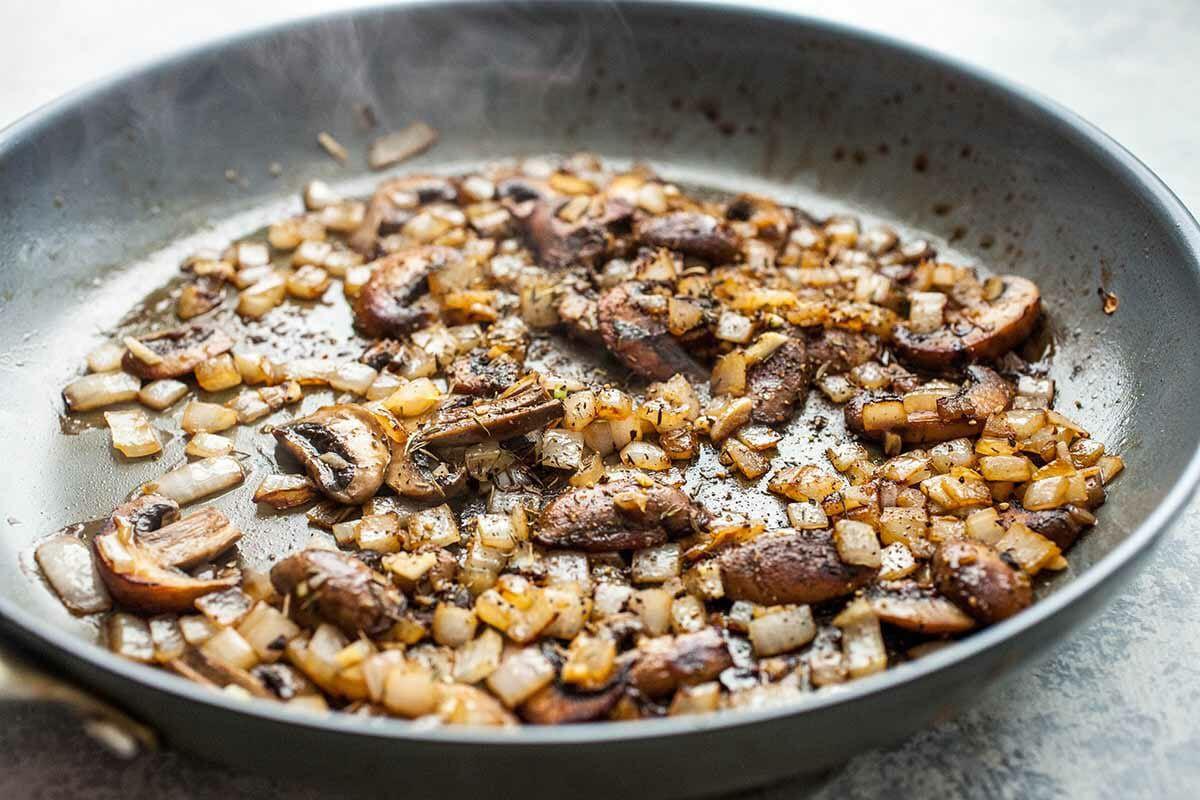 Homemade Chicken Stroganoff Recipe cook the mushrooms and onions