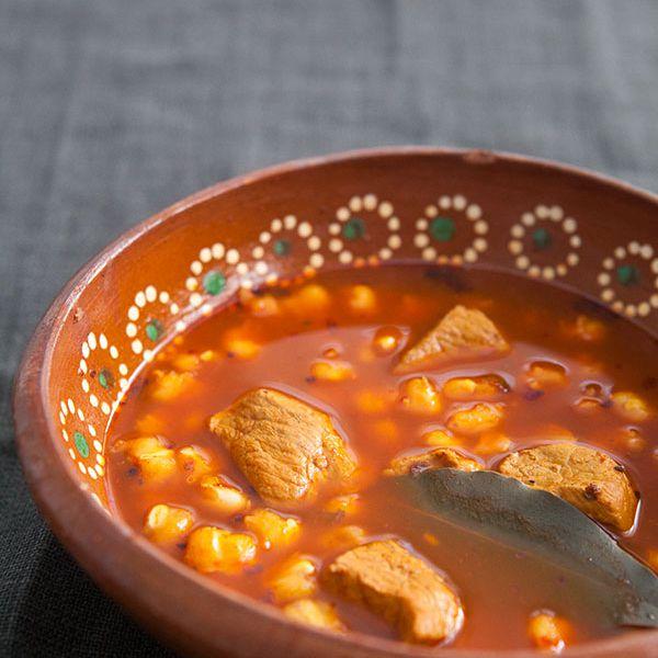Bowl of ungarnished Posole Rojo