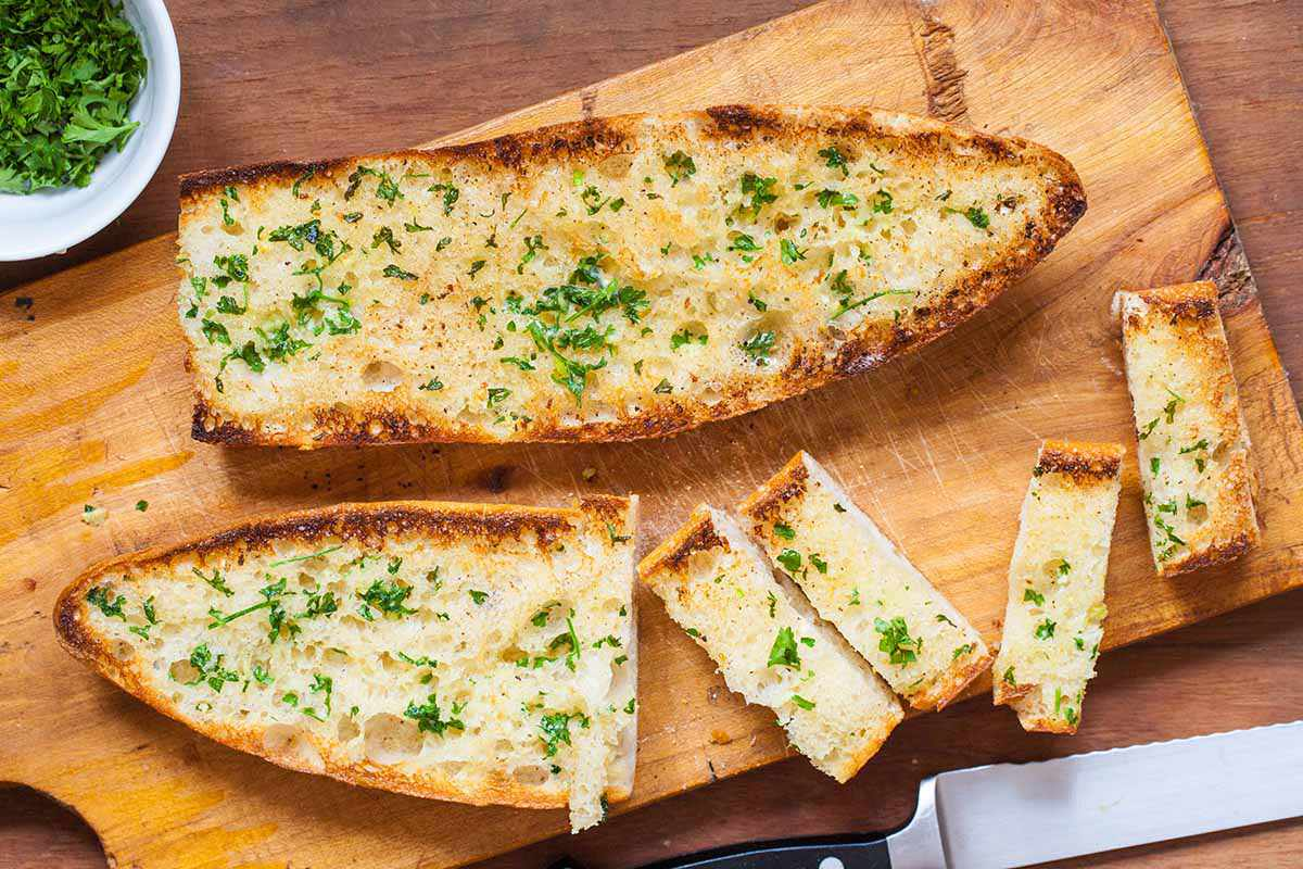 Homemade garlic bread cut into slices