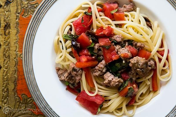 Pasta with Sausage Tomatoes Roasted Peppers