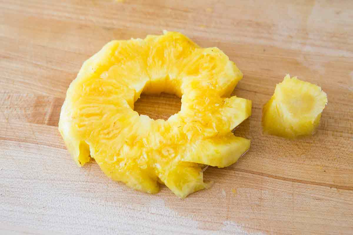 cut out pineapple core