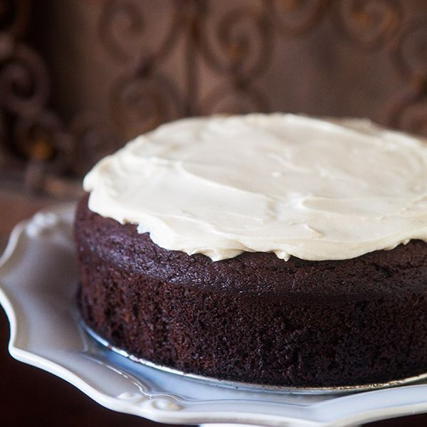 Chocolate Guinness Cake with Cream Cheese Frosting on Cake Stand
