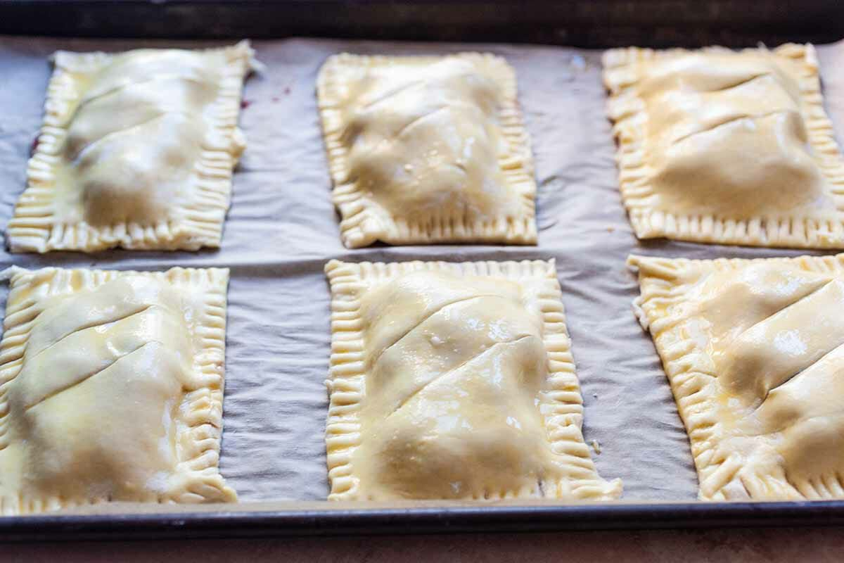 Hand Pies with Cherries brush the top with egg