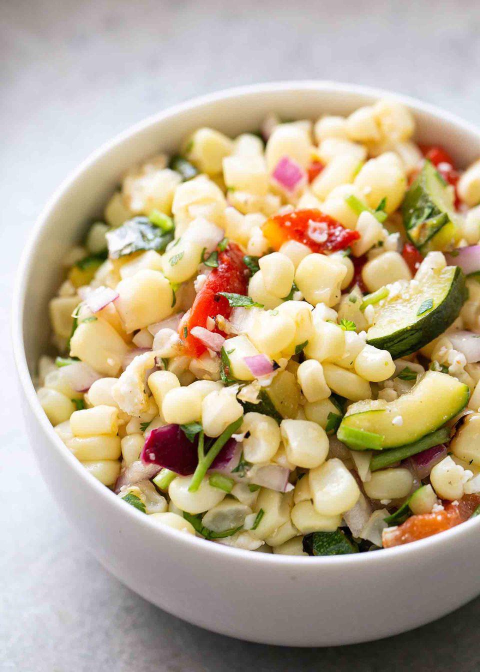 Grilled Corn, Pepper, and Zucchini Salad